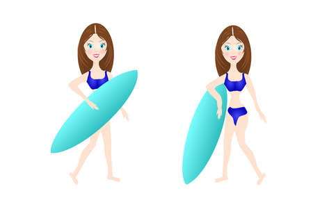 exciting: Illustration of two young women with surf