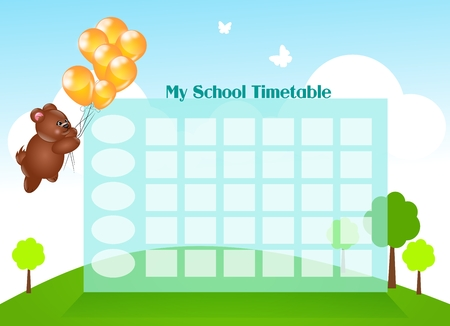 scholastic: Cute children school timetable with flying bear on balloons Stock Photo
