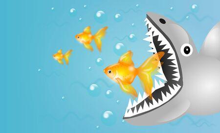 golden fish: Illustration of predator shark and small golden fish Stock Photo