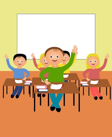school class: Cartoon illustration of school class with children Stock Photo