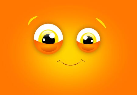 big eye: Orange happy face illustration with two big eye