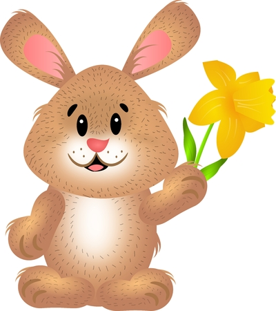 Cute illustration of light brown easter rabbit holding daffodil Stock Photo