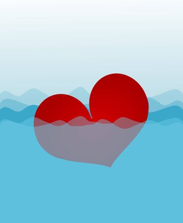 unlucky: Illustration or red heart diving in water