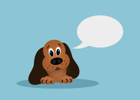 speach: Cartoon brown dog with speach bubble on blue background Stock Photo