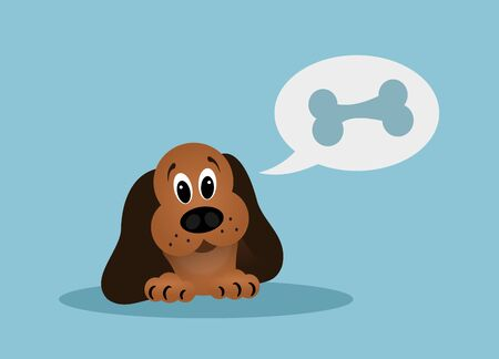 speach: Cartoon brown dog with speach bubble with bone on blue background Stock Photo