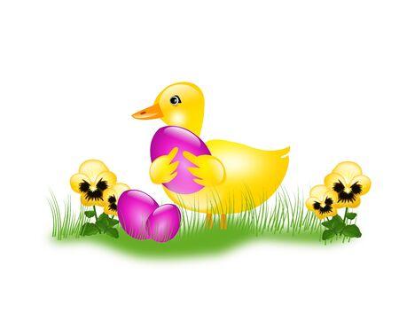 huevo caricatura: Decoraci�n de Pascua con patos y huevos de Pascua Foto de archivo