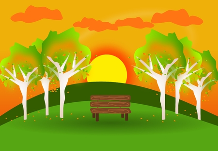 wooden bench: Illustration of autumn park with wooden bench