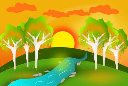 autumn park: Illustration of beautiful autumn park with sunset Stock Photo
