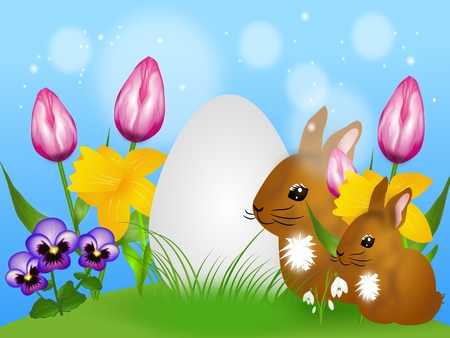 White easter egg sitting in grass with different spring flowers and two brown rabbits photo