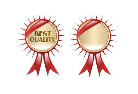 escarapelas: Dos rosetones rojos oro sobre fondo blanco
