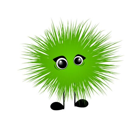 green cute: Green cute hairy monster on white background