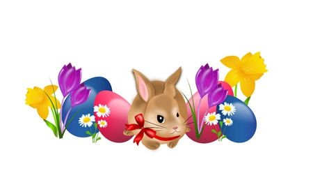 Illustration of cute easter rabbit with easter eggs and flowers illustration