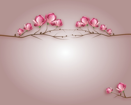 Light purple background decorated with magnolia blossom Stock Photo