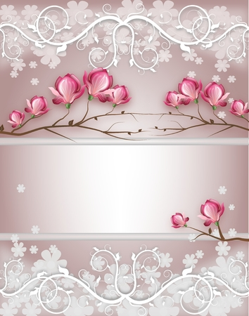 Light purple weeding card decorated with magnolia blossom
