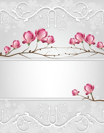 magnolia tree: Light silver weeding card decorated with magnolia blossom Stock Photo