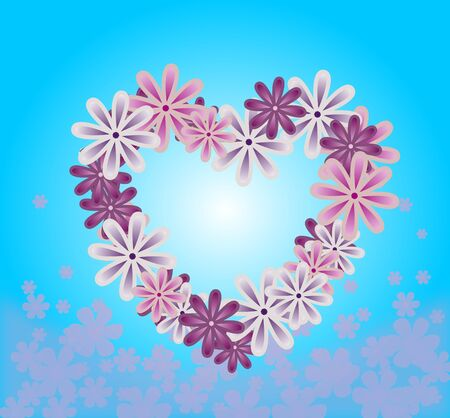 floral heart: Purple floral heart on light blue background