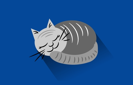 lie down: Cartoon of sleeping cat on blue background