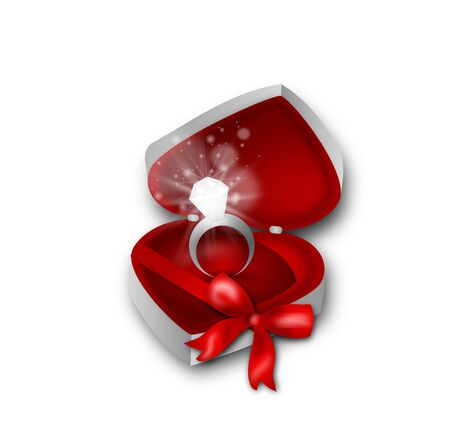 Beautiful ring in heart box with red ribbon photo