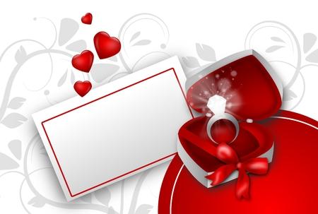 gifting: Anillo de diamante en caja de regalos en la etiqueta y peque�os corazones Foto de archivo