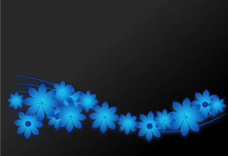 blooms: Dark background with blue flowers blooms illustrations