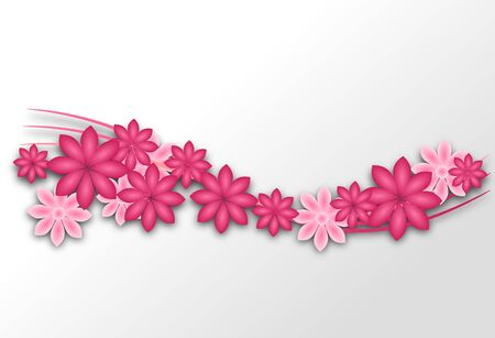 blooms: Light background with pink flowers blooms illustrations