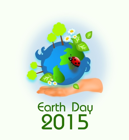 life event: Background for earth day with globe and hand illustration