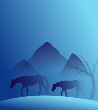moutains: Blue background with two horses and moutains Stock Photo