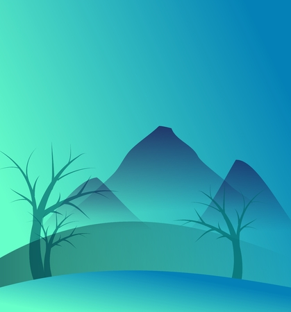 moutain: Abstract background with blue moutains and trees Stock Photo