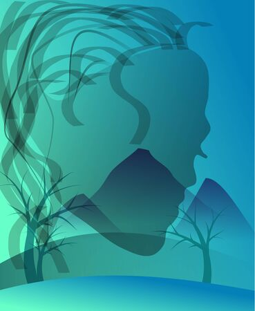 moutain: Blue background with abstract woman side face Stock Photo