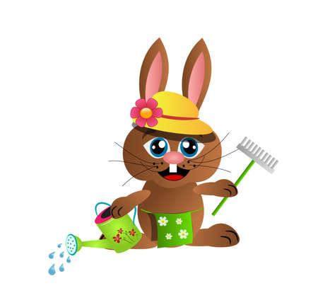 gardening tool: Gray rabbit with gardening tool and watering pot Stock Photo