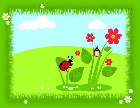 catarina caricatura: Fondo feliz de dibujos animados con mariquitas y flores