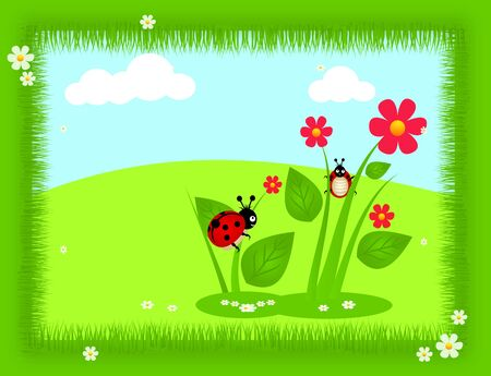 ladybug: Happy cartoon background with ladybugs and flower Stock Photo