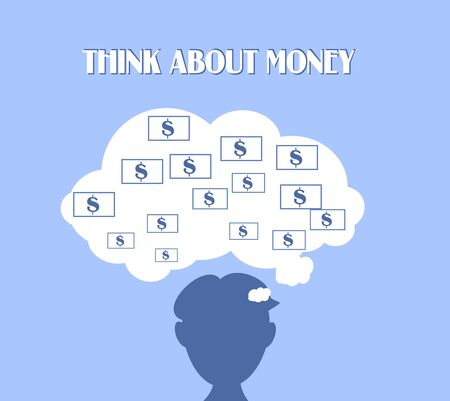 silhouete: Light blue background with head silhouette with cloud of money Stock Photo
