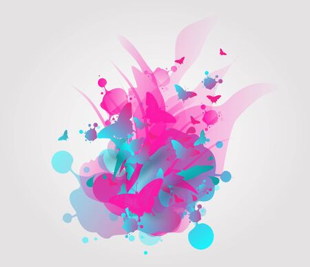 silouette: Abstract illustration of pink blue smudge with silouette of butterflies