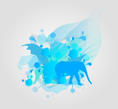 smudge: Abstract illustration of blue smudge with silouette of elephants