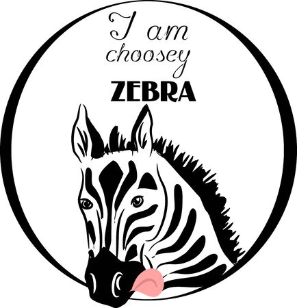 head i: Illustration of head of zebra in the circle with text I am choosey zebra