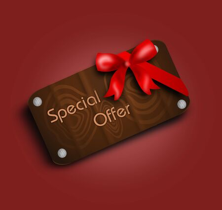 better price: Wooden board with text special offer and red ribbon