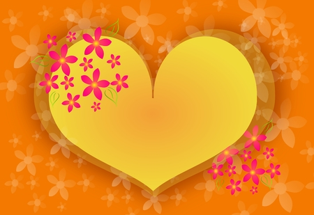 yellow heart: Illustration of big yellow heart with floral ornaments