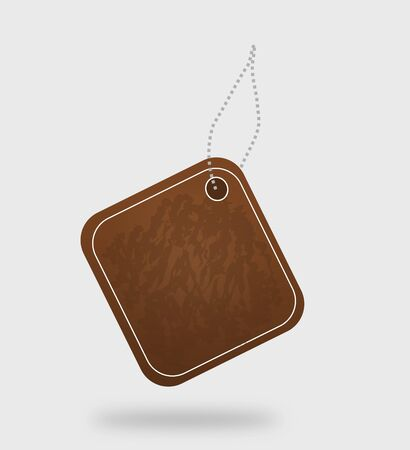 light brown: Blank brown tag on light gray background Stock Photo