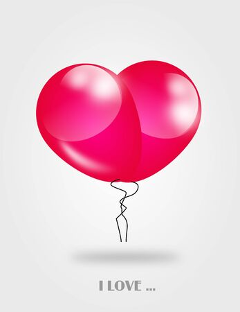pink balloons: Two pink balloons set to heart illustration