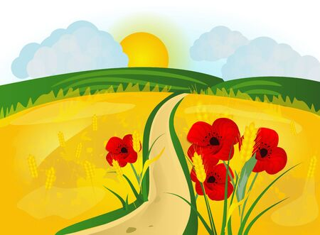 Illustration of summer field with grain and poppies
