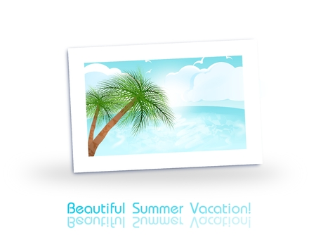 ocean view: Illustration of photo of ocean view decorated with text Stock Photo
