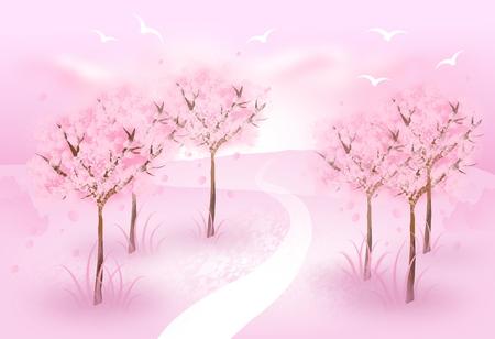 Illustration of pink blossom trees in romantic landscape Zdjęcie Seryjne
