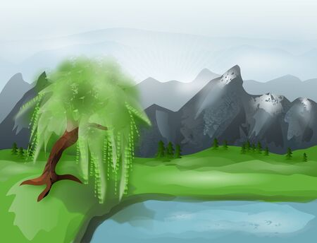 Illustration of mountains landscape with lake and willow