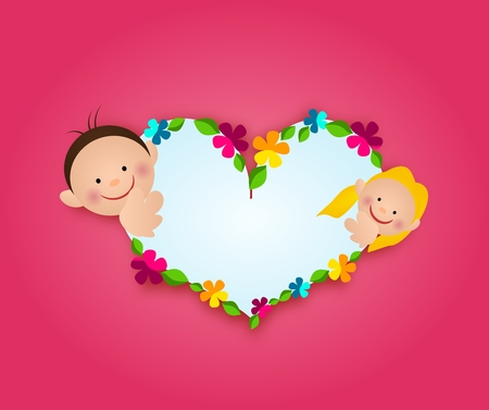 floral heart: Illustration of floral heart on pink background with two children