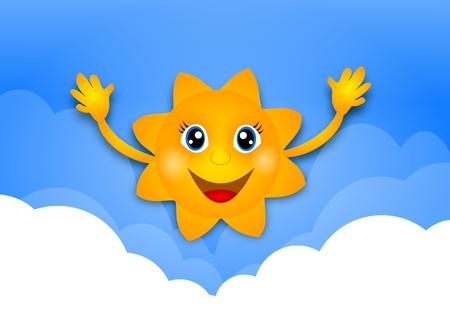 above clouds: Illustration of happy sun above white clouds