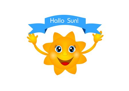 hallo: Illustration of happy sun with blue ribbon with text Hallo sun!