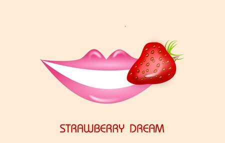 pink lips: Illustration of smiling pink lips with strawberry Stock Photo