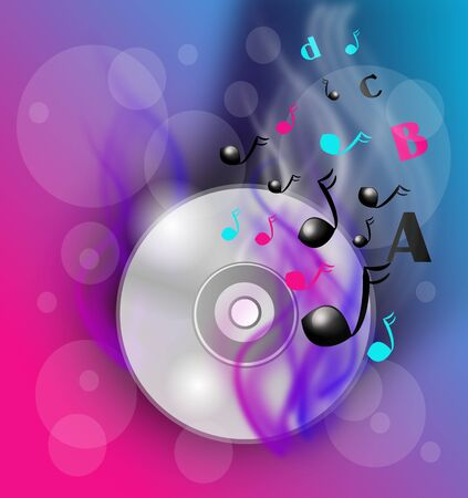 flame letters: Illustration of blank cd disc with colorful flame decorated with notes and letters