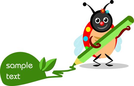 buffoon: Vector illustration of happy ladybug writing message Illustration